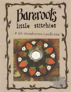 Bareroots Little Stitchies Strawberries Candle Mat Kit