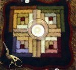 Bareroots Little Stitchies Log Cabin Block Candle Mat