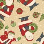 Debbie Mumm Ho-Ho Holiday: Santa and Snowman, Cream