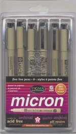 Pigma Micron Pen Set Size 005 6 Colors