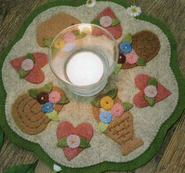 Bareroots Little Stitchies Basket Candle Mat Kit - Click Image to Close